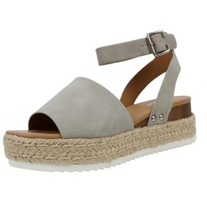 Shoes - Dove Grey Open Toe Halter Ankle Strap Espadrille